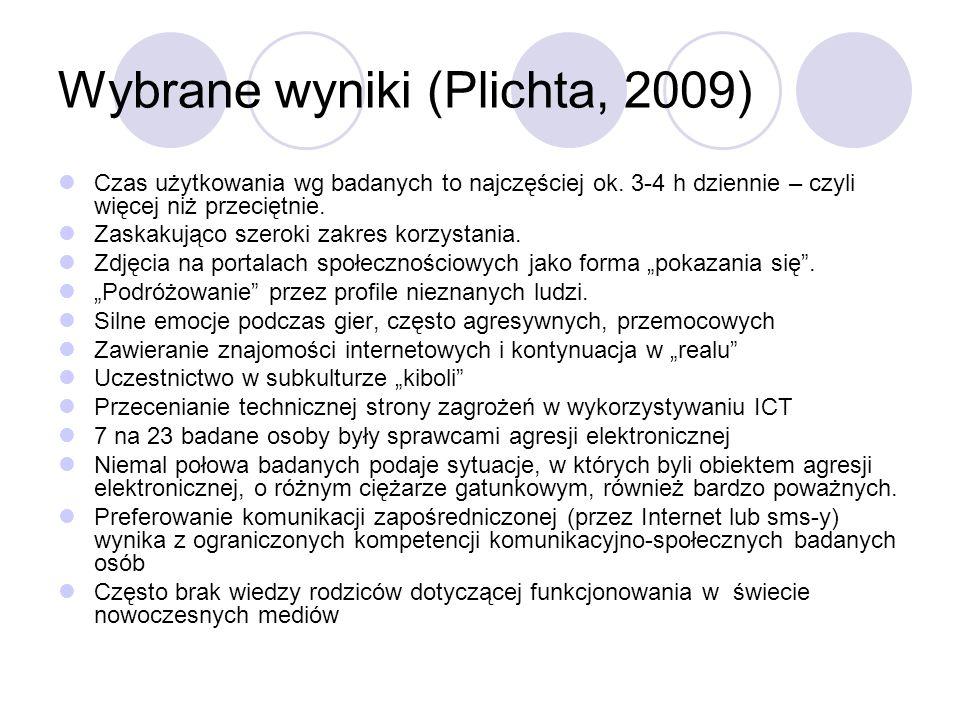 Wybrane wyniki (Plichta, 2009)