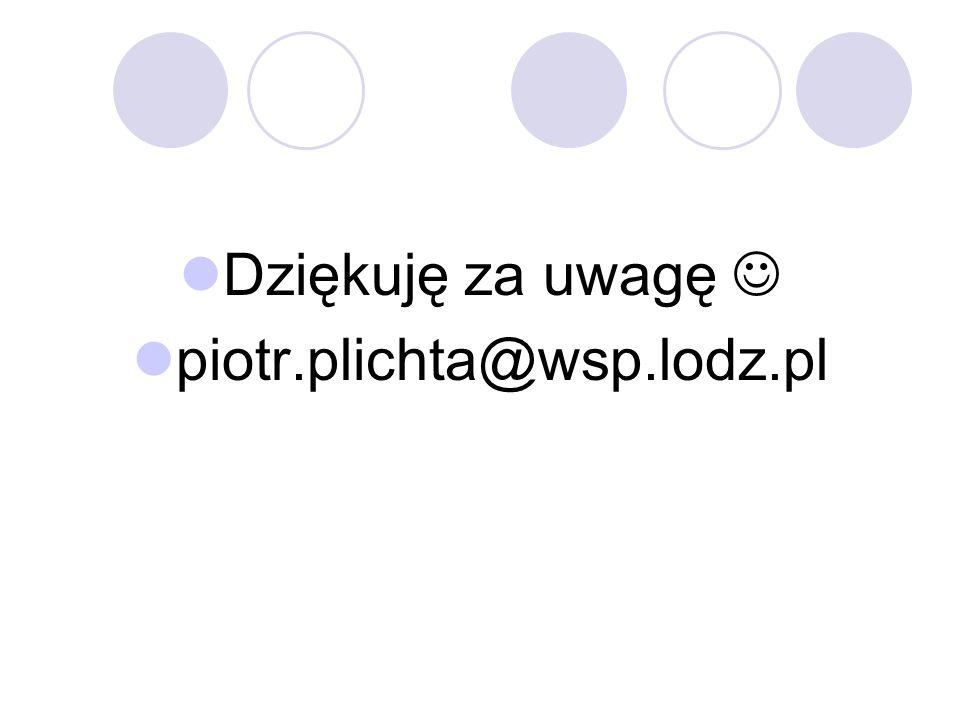 Dziękuję za uwagę  piotr.plichta@wsp.lodz.pl
