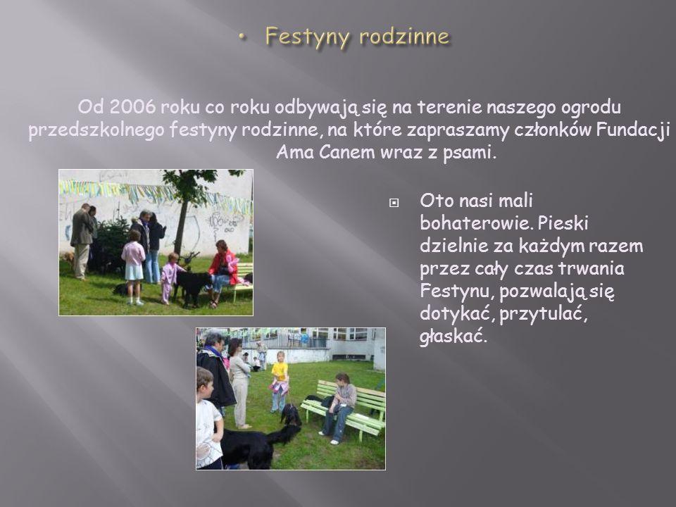 Festyny rodzinne Od 2006 roku co roku odbywają się na terenie naszego ogrodu przedszkolnego festyny rodzinne, na które zapraszamy członków Fundacji.