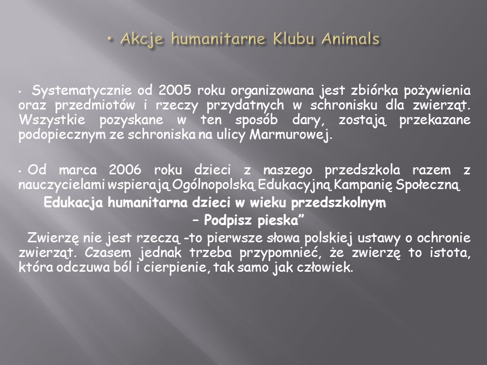 Akcje humanitarne Klubu Animals