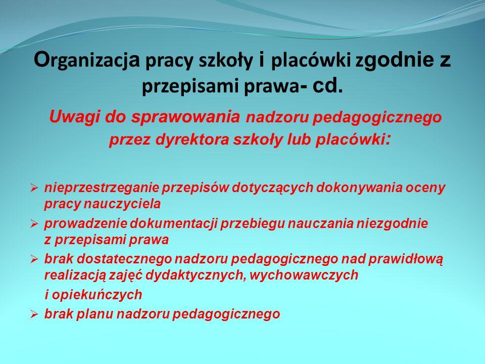 Organizacja pracy szkoły i placówki zgodnie z przepisami prawa- cd.