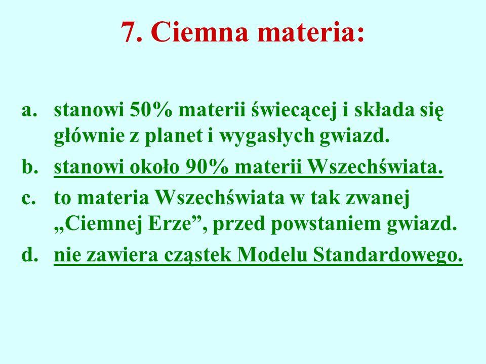 7. Ciemna materia: stanowi 50% materii świecącej i składa się głównie z planet i wygasłych gwiazd. stanowi około 90% materii Wszechświata.