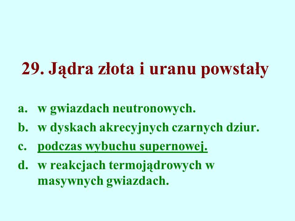 29. Jądra złota i uranu powstały