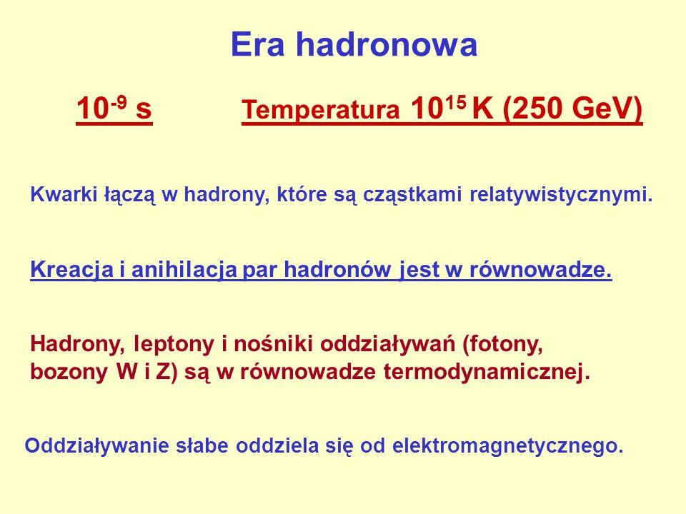 Era hadronowa 10-9 s Temperatura 1015 K (250 GeV)