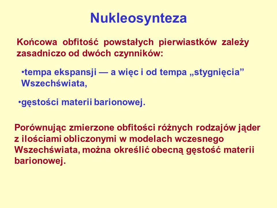 Nukleosynteza Końcowa obfitość powstałych pierwiastków zależy zasadniczo od dwóch czynników: