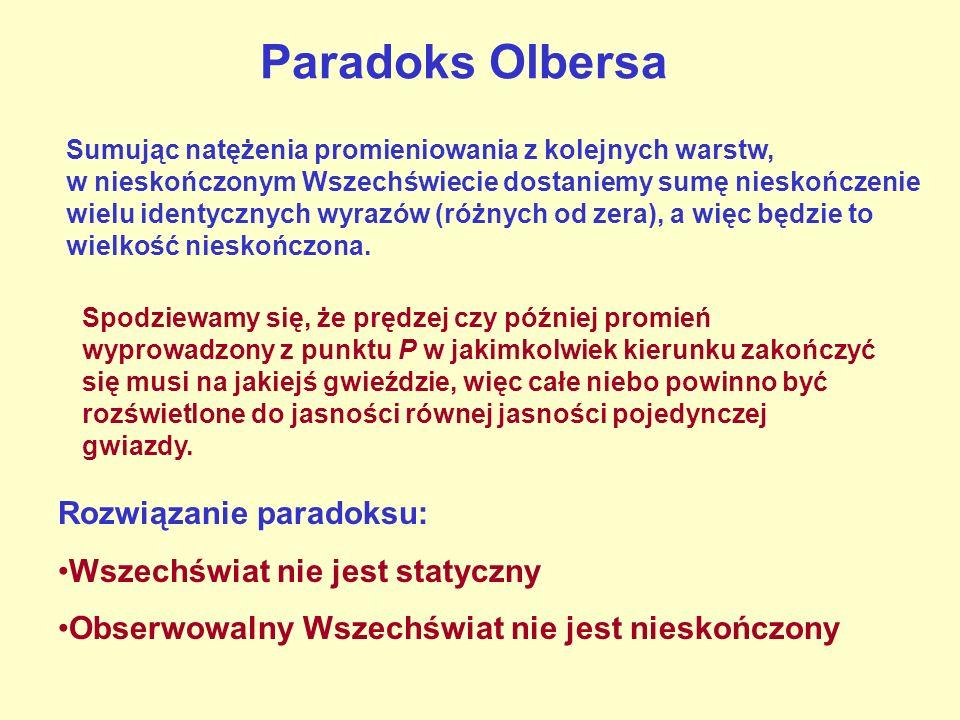 Paradoks Olbersa Rozwiązanie paradoksu: Wszechświat nie jest statyczny