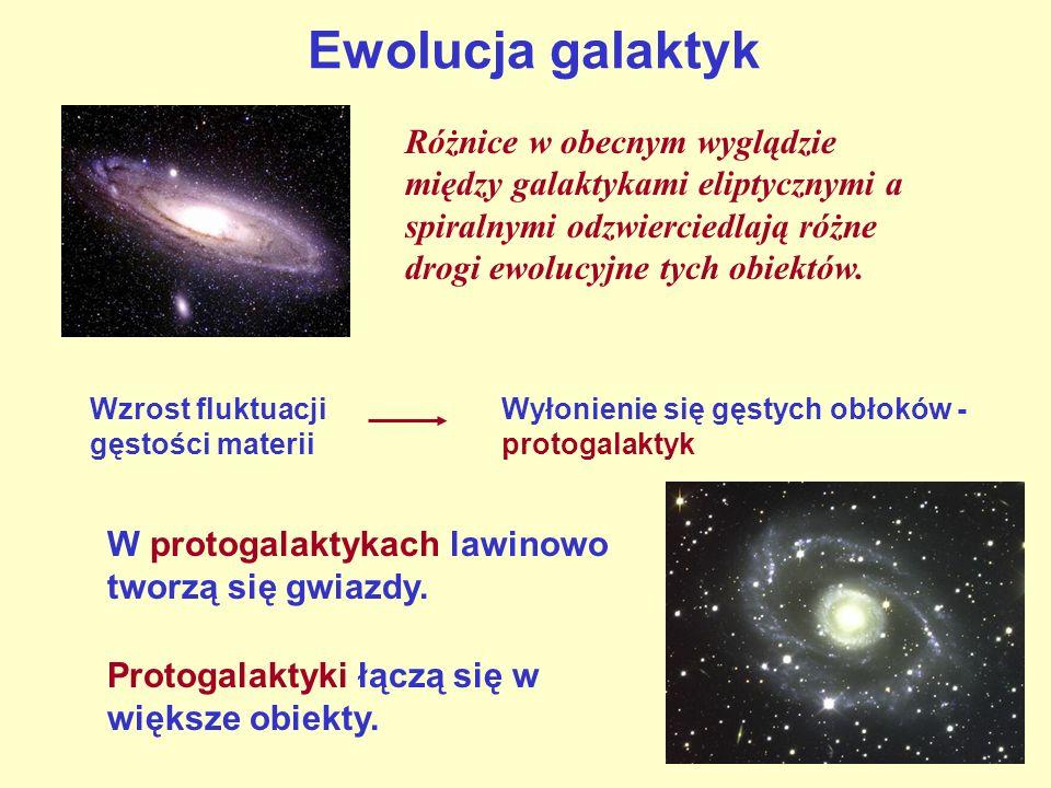 Ewolucja galaktyk Różnice w obecnym wyglądzie między galaktykami eliptycznymi a spiralnymi odzwierciedlają różne drogi ewolucyjne tych obiektów.
