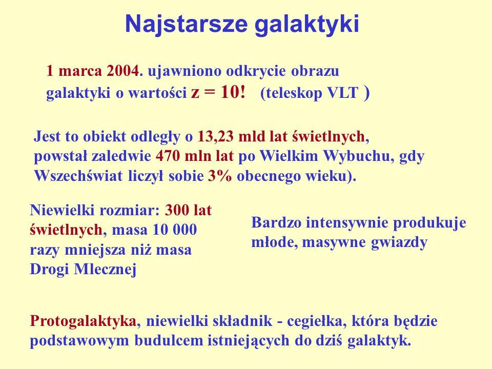 Najstarsze galaktyki 1 marca 2004. ujawniono odkrycie obrazu galaktyki o wartości z = 10! (teleskop VLT )