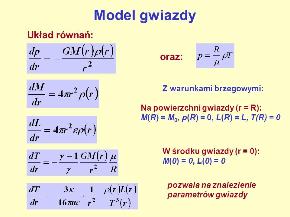 Model gwiazdy Układ równań: oraz: Z warunkami brzegowymi: