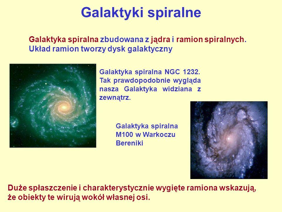 Galaktyki spiralne Galaktyka spiralna zbudowana z jądra i ramion spiralnych. Układ ramion tworzy dysk galaktyczny.