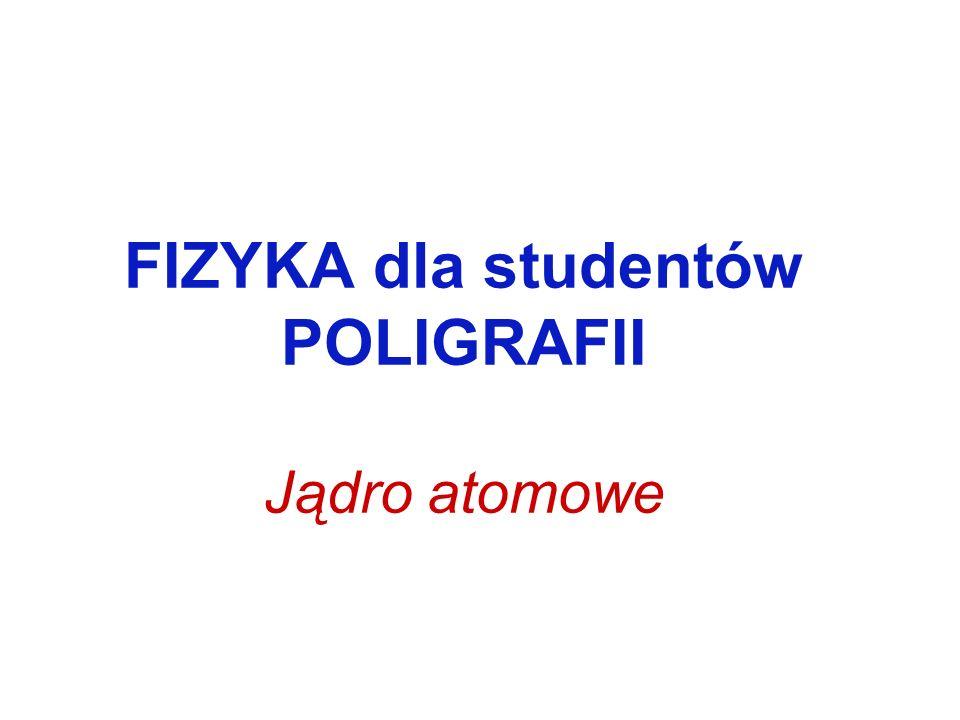 FIZYKA dla studentów POLIGRAFII Jądro atomowe