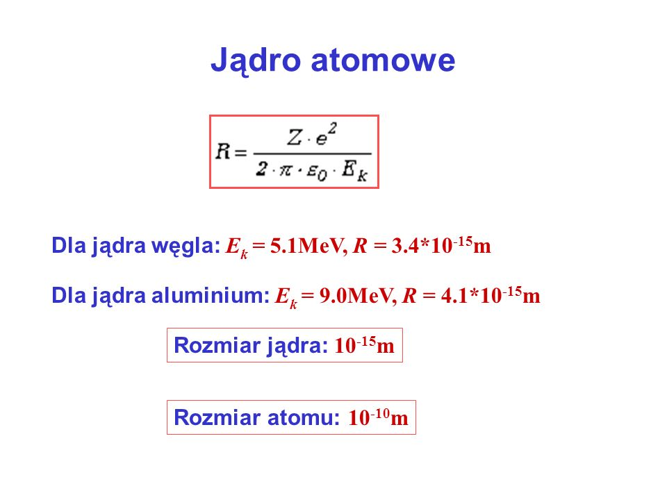 Jądro atomowe Dla jądra węgla: Ek = 5.1MeV, R = 3.4*10-15m