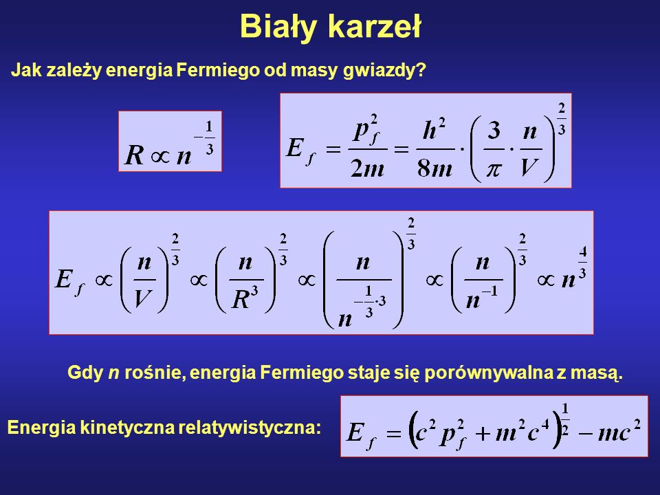 Biały karzeł Jak zależy energia Fermiego od masy gwiazdy