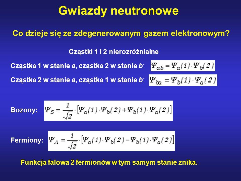 Gwiazdy neutronowe Co dzieje się ze zdegenerowanym gazem elektronowym