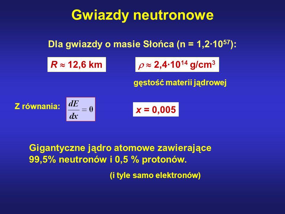 Gwiazdy neutronowe Dla gwiazdy o masie Słońca (n = 1,2·1057):