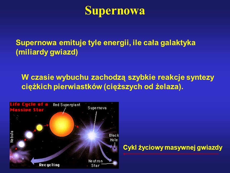 Supernowa Supernowa emituje tyle energii, ile cała galaktyka (miliardy gwiazd)