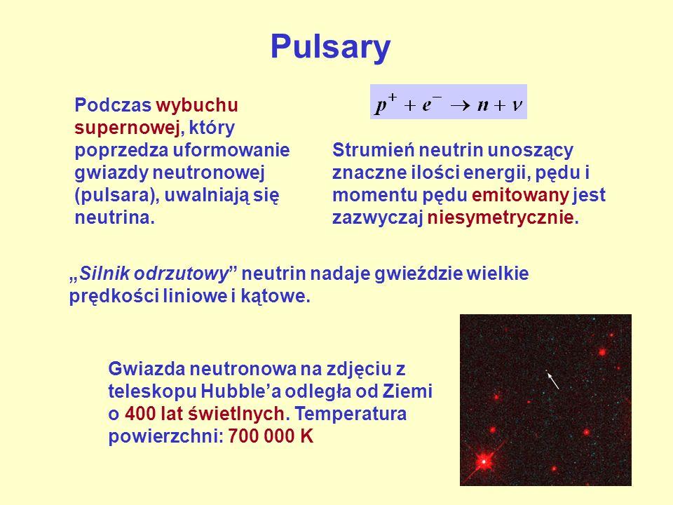 Pulsary Podczas wybuchu supernowej, który poprzedza uformowanie gwiazdy neutronowej (pulsara), uwalniają się neutrina.