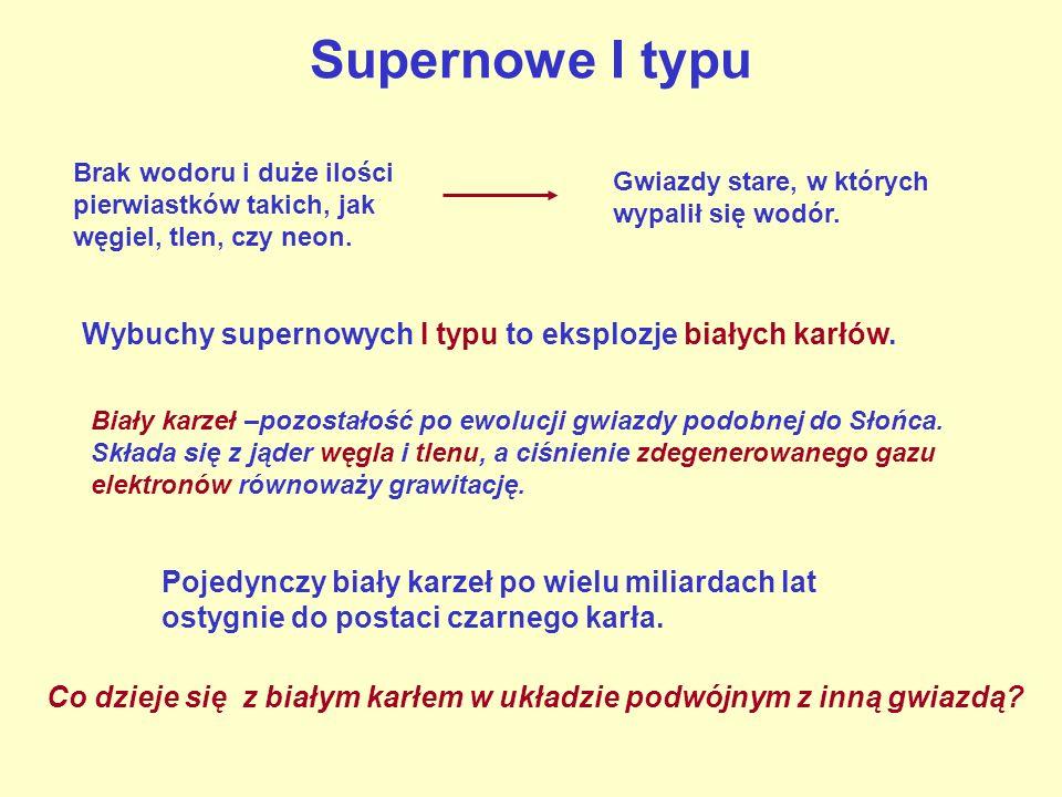 Supernowe I typu Brak wodoru i duże ilości pierwiastków takich, jak węgiel, tlen, czy neon. Gwiazdy stare, w których wypalił się wodór.
