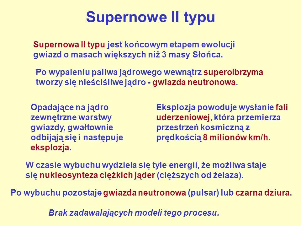 Supernowe II typu Supernowa II typu jest końcowym etapem ewolucji gwiazd o masach większych niż 3 masy Słońca.