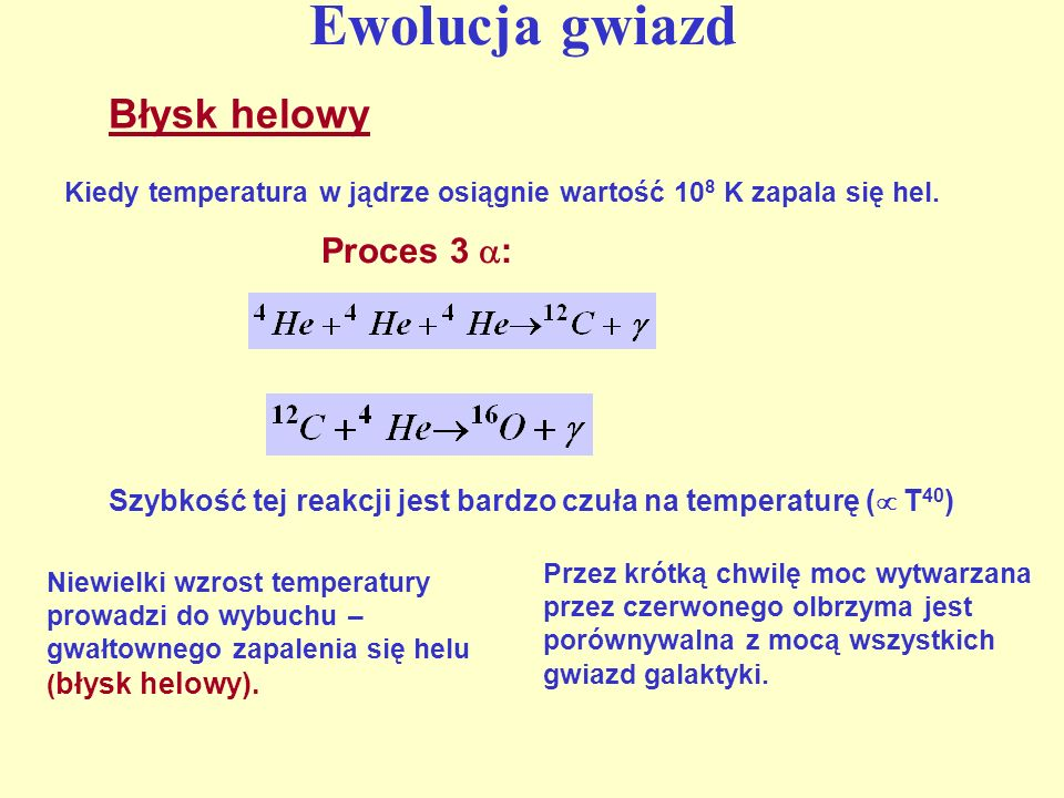 Ewolucja gwiazd Błysk helowy Proces 3 :