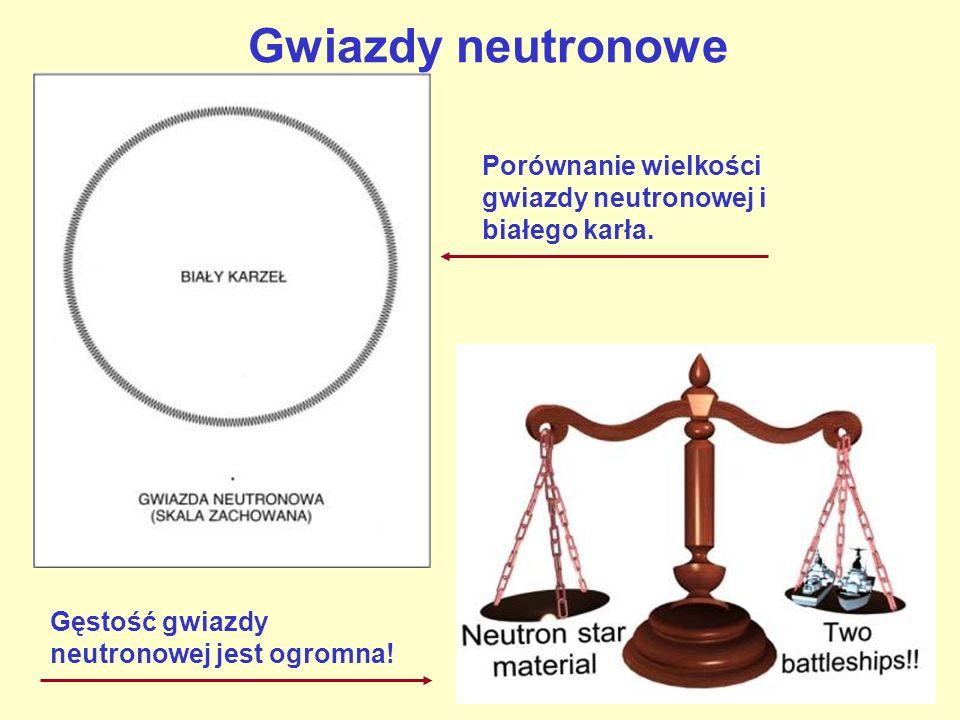 Gwiazdy neutronowe Porównanie wielkości gwiazdy neutronowej i białego karła.
