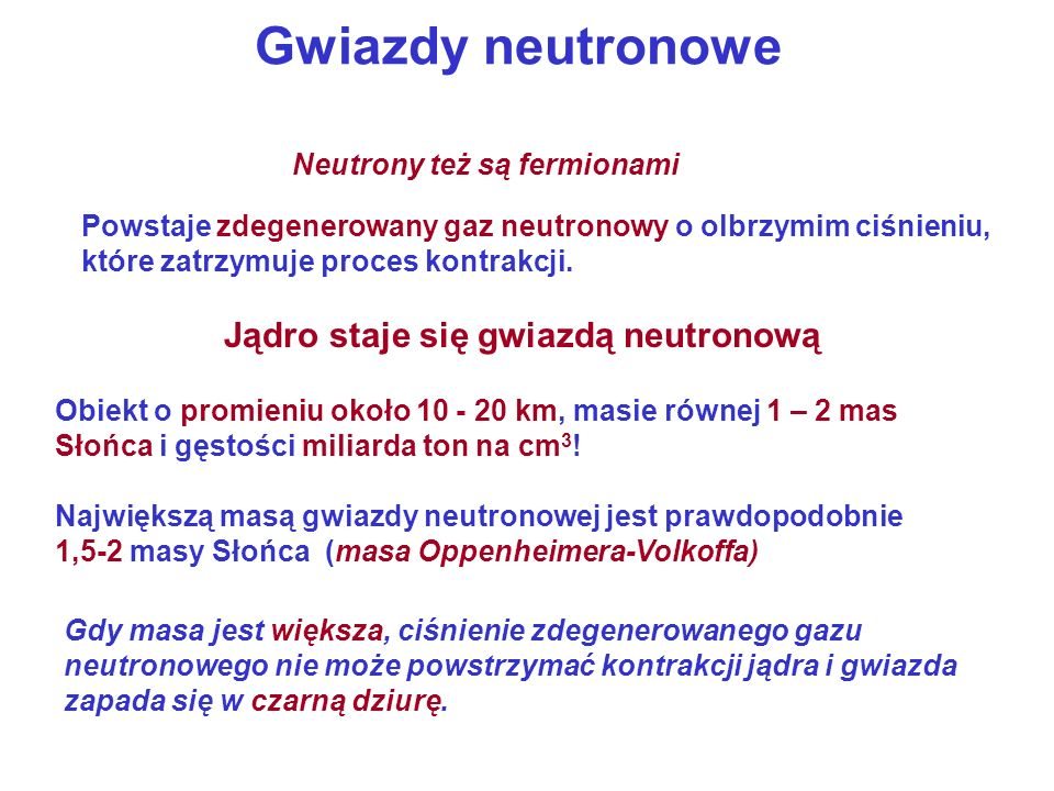 Jądro staje się gwiazdą neutronową