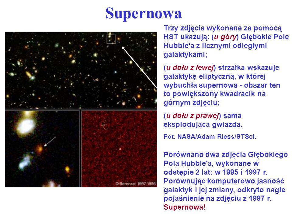 Supernowa Trzy zdjęcia wykonane za pomocą HST ukazują: (u góry) Głębokie Pole Hubble a z licznymi odległymi galaktykami;