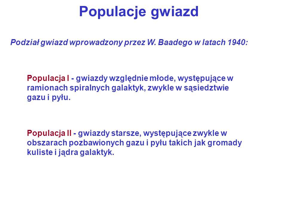 Populacje gwiazd Podział gwiazd wprowadzony przez W. Baadego w latach 1940:
