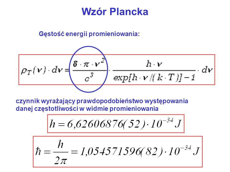 Wzór Plancka Gęstość energii promieniowania: