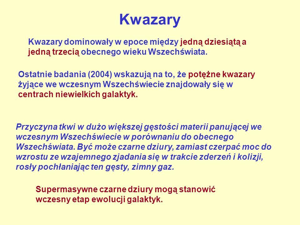 Kwazary Kwazary dominowały w epoce między jedną dziesiątą a jedną trzecią obecnego wieku Wszechświata.