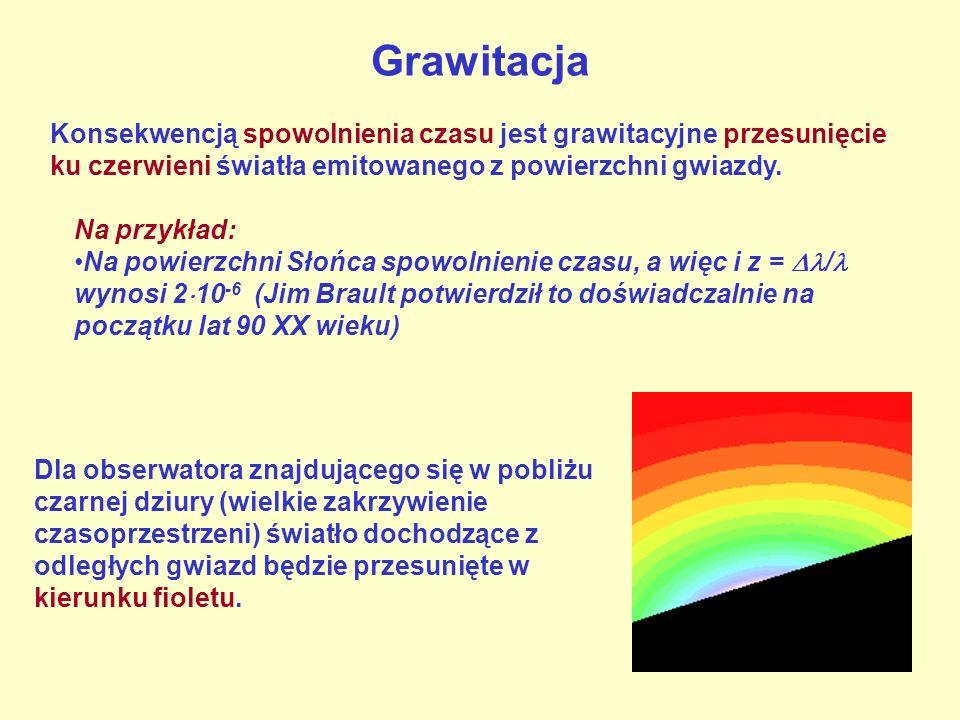 Grawitacja Konsekwencją spowolnienia czasu jest grawitacyjne przesunięcie ku czerwieni światła emitowanego z powierzchni gwiazdy.
