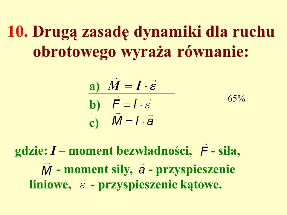 10. Drugą zasadę dynamiki dla ruchu obrotowego wyraża równanie:
