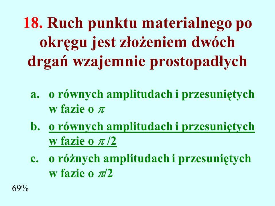 18. Ruch punktu materialnego po okręgu jest złożeniem dwóch drgań wzajemnie prostopadłych