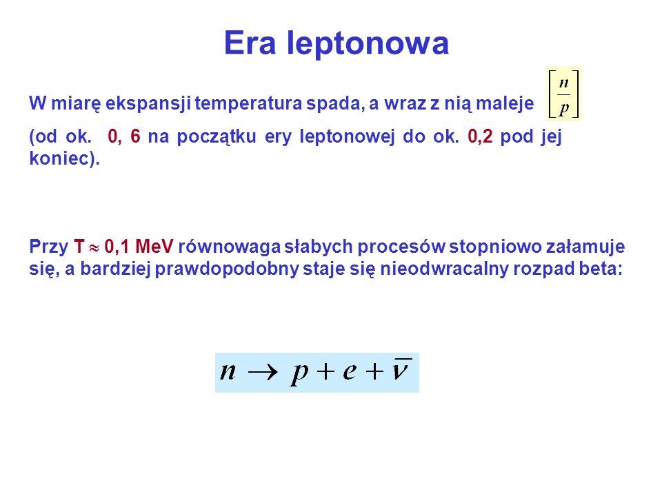 Era leptonowa W miarę ekspansji temperatura spada, a wraz z nią maleje