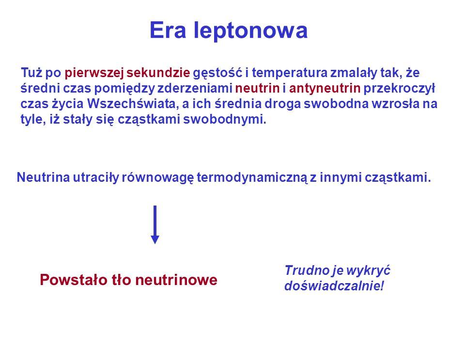 Era leptonowa Powstało tło neutrinowe