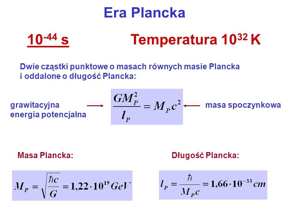 Era Plancka 10-44 s Temperatura 1032 K