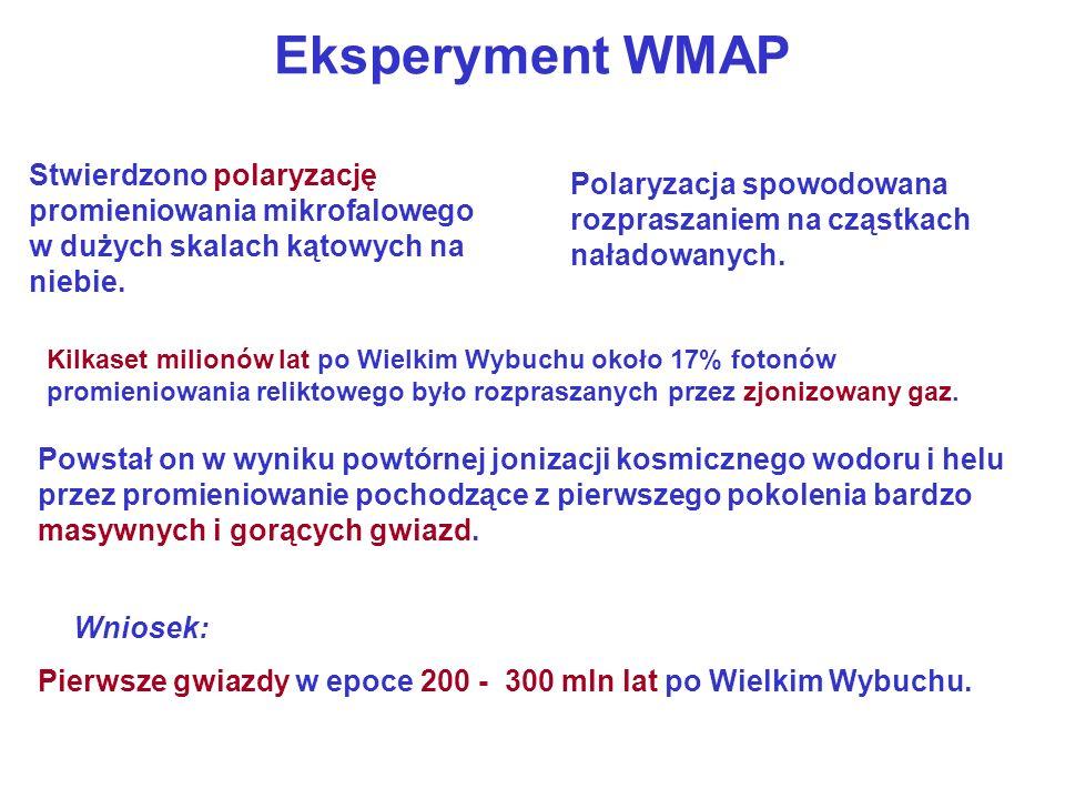 Eksperyment WMAP Stwierdzono polaryzację promieniowania mikrofalowego w dużych skalach kątowych na niebie.