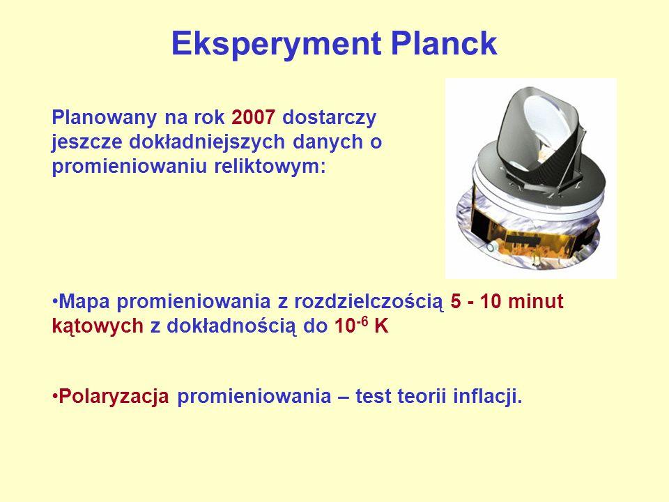 Eksperyment Planck Planowany na rok 2007 dostarczy jeszcze dokładniejszych danych o promieniowaniu reliktowym: