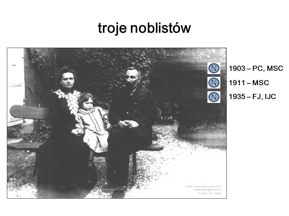 troje noblistów 1903 – PC, MSC 1911 – MSC 1935 – FJ, IJC