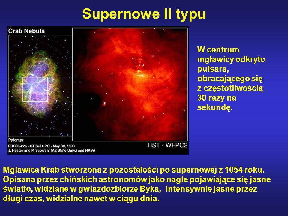 Supernowe II typu W centrum mgławicy odkryto pulsara, obracającego się z częstotliwością 30 razy na sekundę.