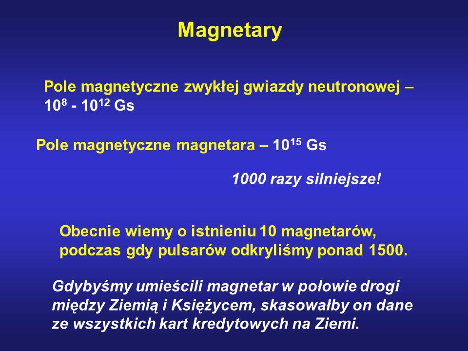 Magnetary Pole magnetyczne zwykłej gwiazdy neutronowej – 108 - 1012 Gs