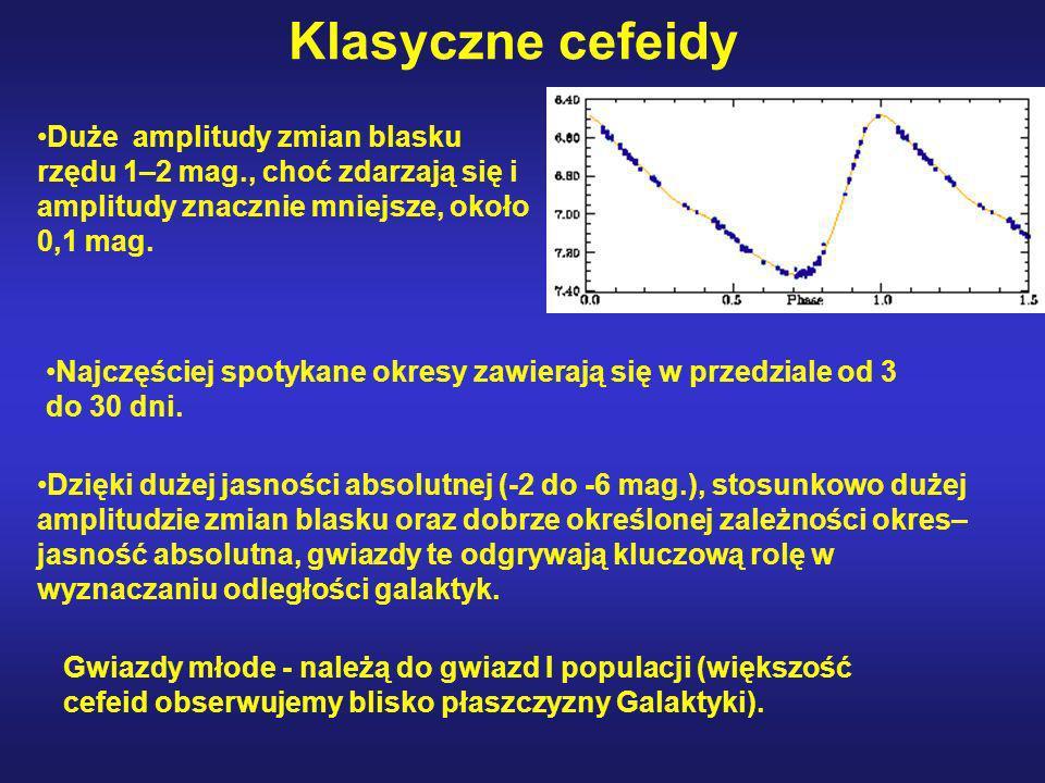Klasyczne cefeidy Duże amplitudy zmian blasku rzędu 1–2 mag., choć zdarzają się i amplitudy znacznie mniejsze, około 0,1 mag.