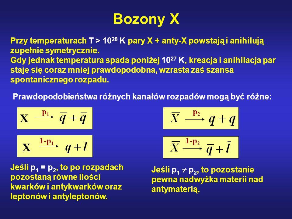 Bozony X Przy temperaturach T > 1028 K pary X + anty-X powstają i anihilują zupełnie symetrycznie.