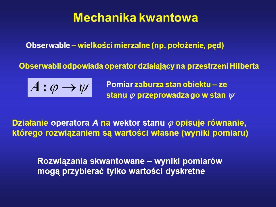 Mechanika kwantowaObserwable – wielkości mierzalne (np. położenie, pęd) Obserwabli odpowiada operator działający na przestrzeni Hilberta.