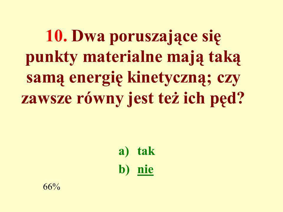 10. Dwa poruszające się punkty materialne mają taką samą energię kinetyczną; czy zawsze równy jest też ich pęd