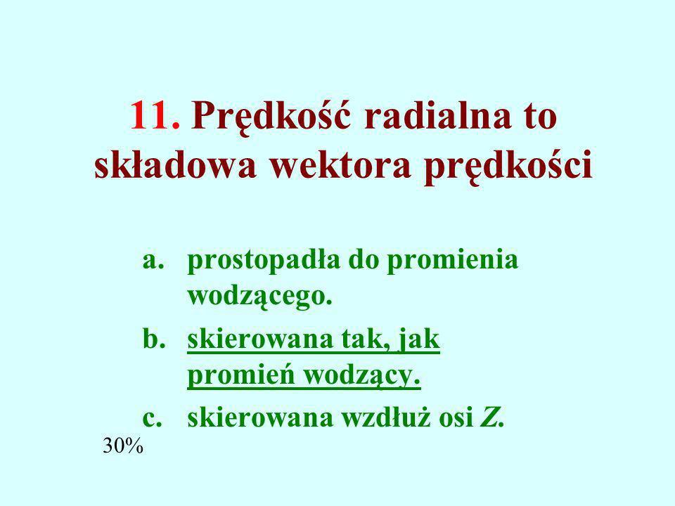 11. Prędkość radialna to składowa wektora prędkości