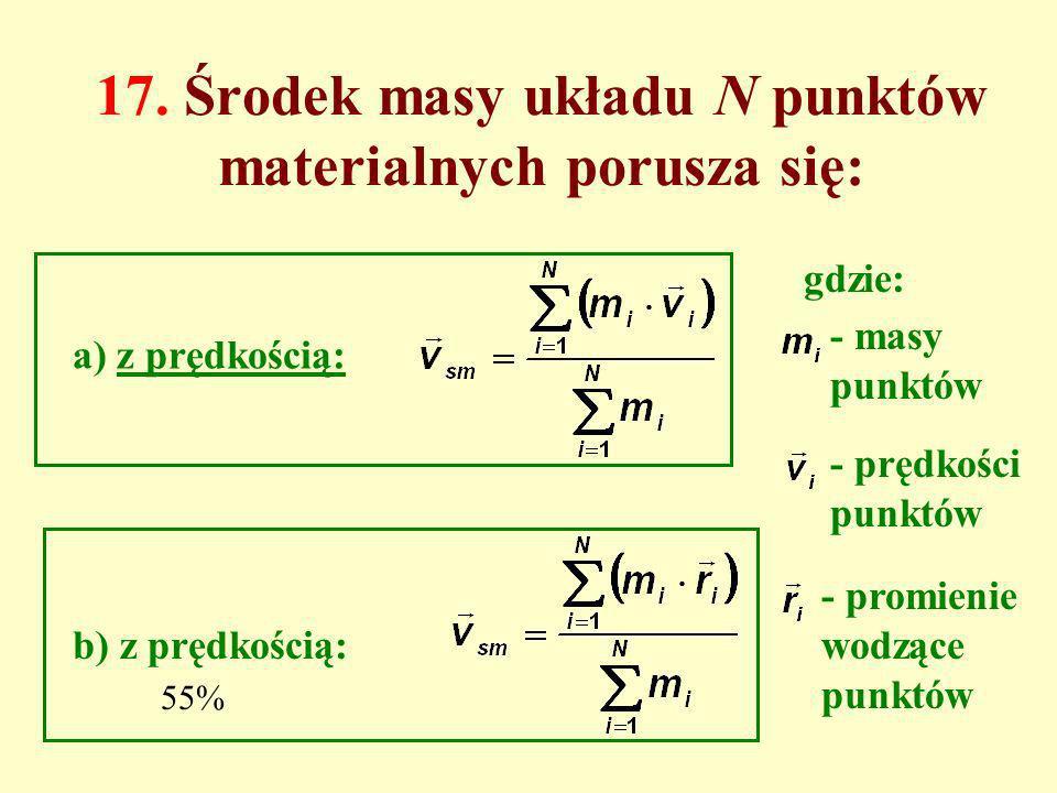 17. Środek masy układu N punktów materialnych porusza się: