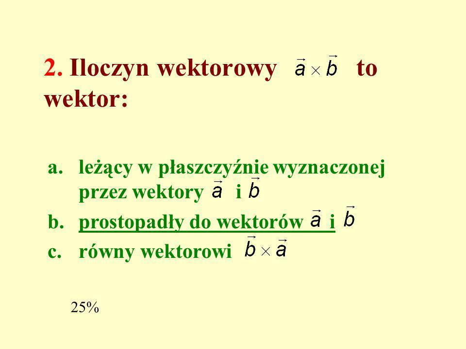 2. Iloczyn wektorowy to wektor: