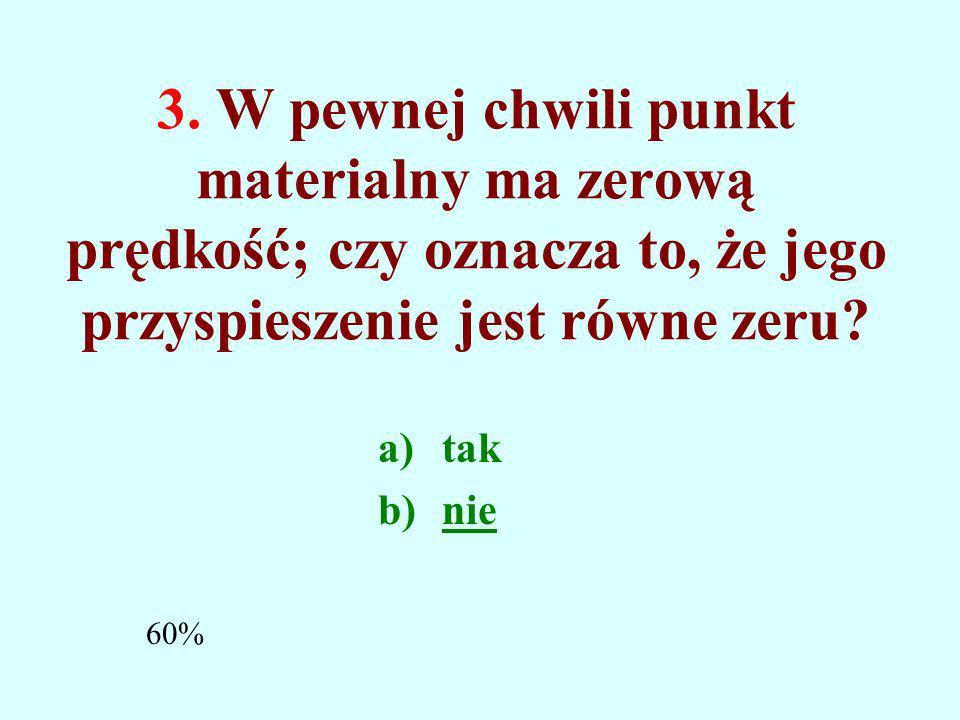 3. W pewnej chwili punkt materialny ma zerową prędkość; czy oznacza to, że jego przyspieszenie jest równe zeru
