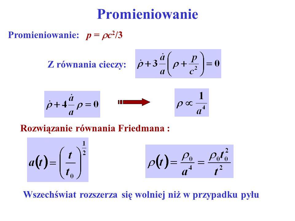 Rozwiązanie równania Friedmana :